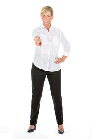 businesswoman pointing a finger