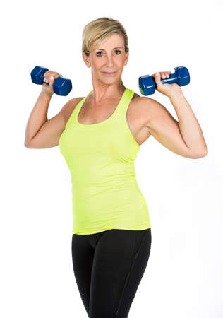 woman doing arms exercises with bumbbell