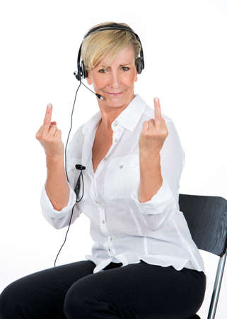 middle finger: manager woman with the headsets doing midle finger