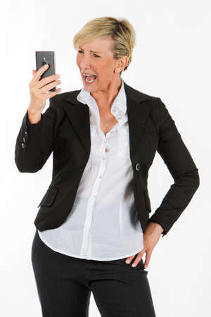 manager woman holding a mobile phone