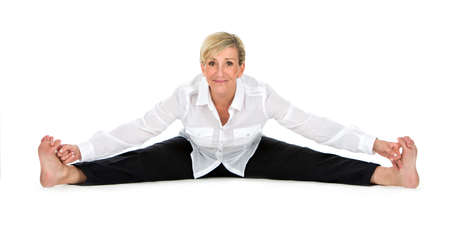 open legs: manager woman doing yoga at white background