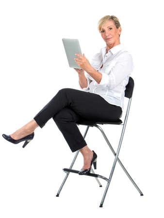 manager woman working with ipad Banque d'images