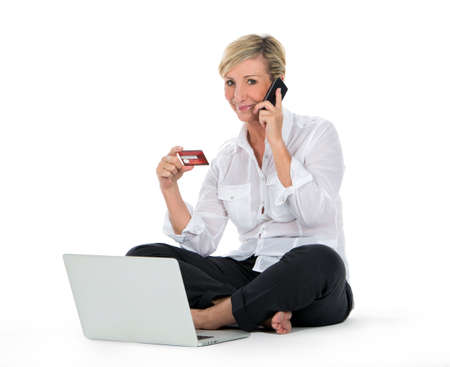 woman doing shopping on line with credit card
