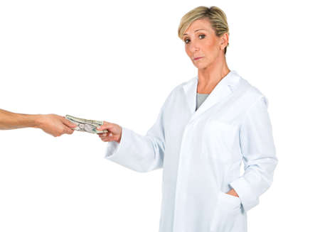 age 50 55 years: doctor woman receiving money from a person Stock Photo