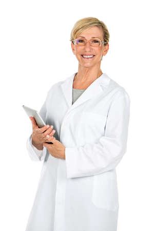 doctor woman holding computer