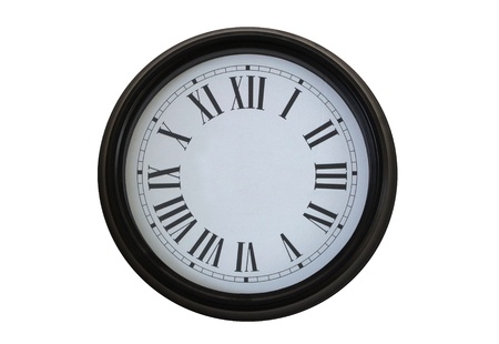 Clock without pointers on isolated white photo