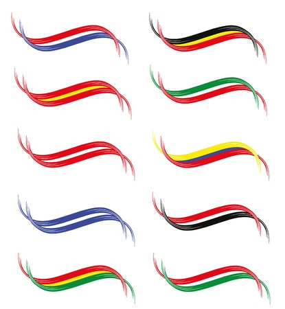 colombia: Flag ribbons of different countries shapes Illustration