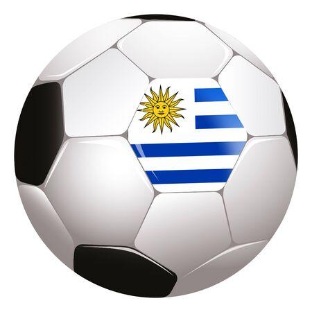 uruguay flag: football with Uruguay flag Stock Photo