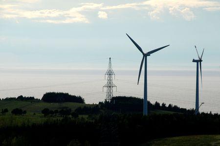 environmentalism: Wind Turbine & electric  Stock Photo