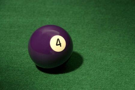 Pool Ball 4 on green velvet