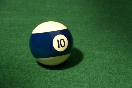 Pool Ball 10 on green velvet