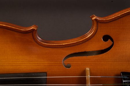half Violin side on dark gray background