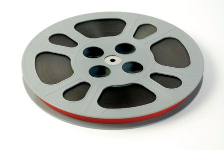 Film reels isolated on white  Stock Photo