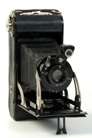 vintage Photo folding camera, roll film  Stock Photo