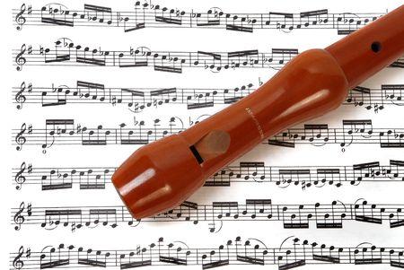 Flute on music sheet