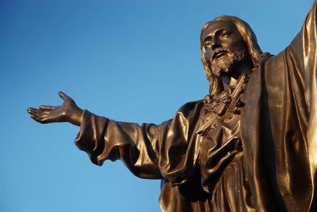 detail of bronze sculpture of Jesus christ