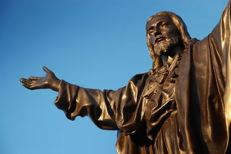 detail of bronze sculpture of Jesus christ