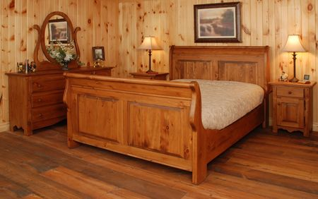 vintage rustic bedroom set  in natural pine wood