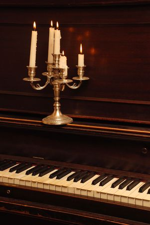 Retro Wood Piano In The Candle Lighting Stock Photo