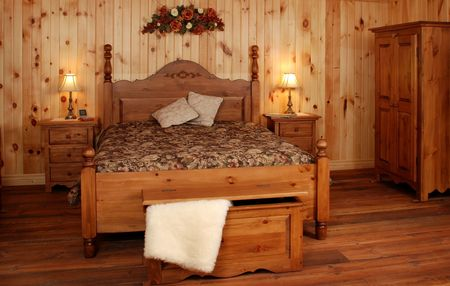 Old Empty Bedroom set  in natural pine wood photo