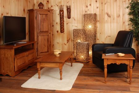 Old Empty living set  in natural pine wood