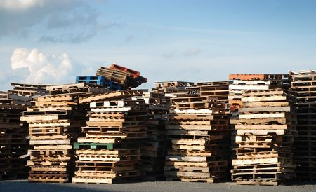 Piles of industrial wooden pallets Stock Photo