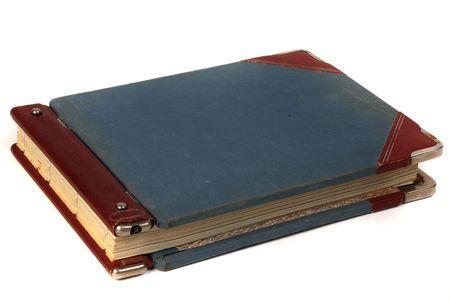 ledger: Linen blue cover of vintage handwritten  ledger book Stock Photo