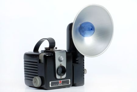 folding camera: Old  Photo camera with bulb flash