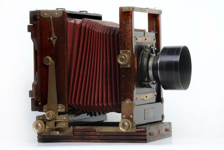 old wood frame photo camera