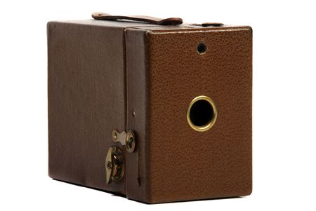 Old brown leather finish box Photo camera
