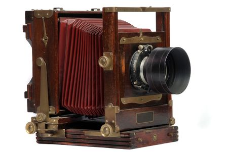 photo camera: old wood frame photo camera with lens