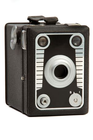 Old black leather finish box Photo camera Stock Photo