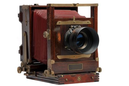 old wood frame photo camera with lens