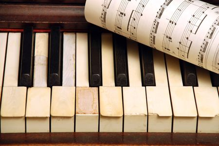 Vintage old Piano and sheet in paper with music notes Stock Photo - 5116647