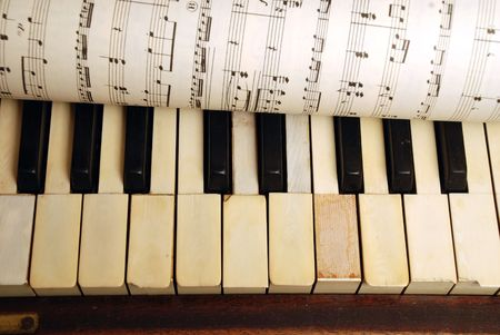 Vintage old Piano and sheet in paper with music notes