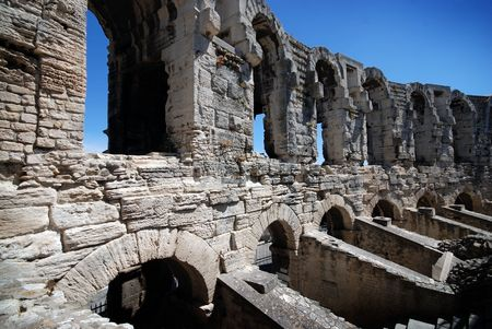 Part of ancient Roman stadium in Arles, Provence, France