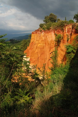 sand quarry: Ochre orange sand hills in Roussillon, Provence