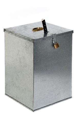 Vintage metal ballot box with padlock ticket voting Stock Photo