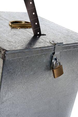 inaugural: Vintage metal ballot box with padlock ticket voting Stock Photo