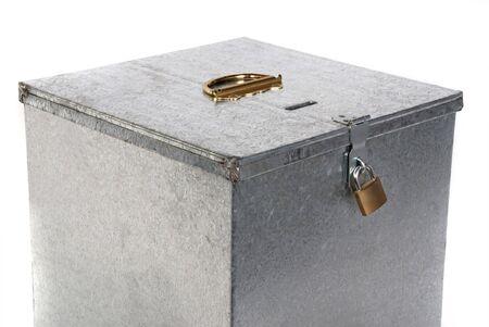 tin: Vintage metal ballot box with padlock