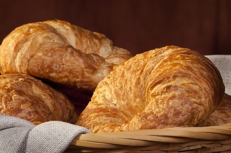 freshly made breads croissant served at breakfast photo