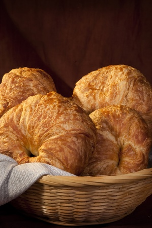 straw twig: freshly made breads croissant served at breakfast Stock Photo