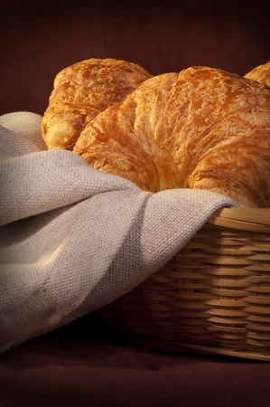 freshly made breads croissant served at breakfast Stock Photo