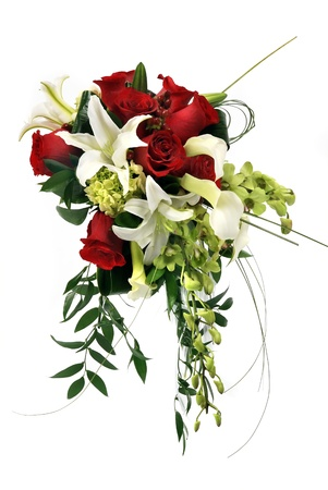A wedding bunch of flowers on white background Stock Photo