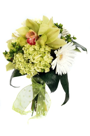 bridal bouquet: A wedding bunch of flowers on white background Stock Photo