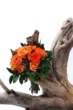 A wedding bouquet of flowers on white on tree stump photo