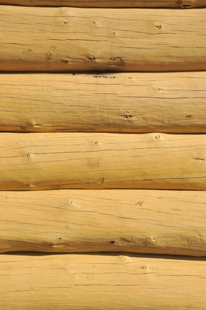 Wood constructed wall of an rural  old style cabin Stock Photo