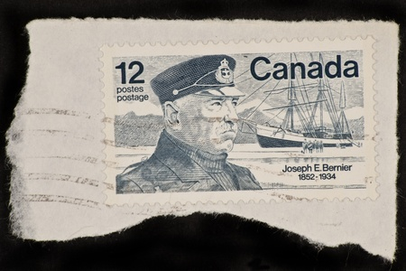 solidify: CANADA - CIRCA 1977: A stamp printed in Canada shows a picture of Joseph E. Bernier, the man who solidify Canada Stock Photo