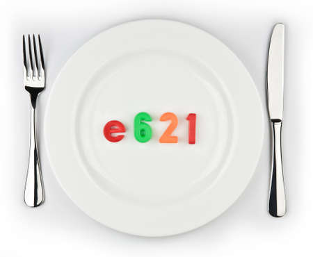 glutamate: E621-unhealthy nutritional taste enhancer delivered in a plate