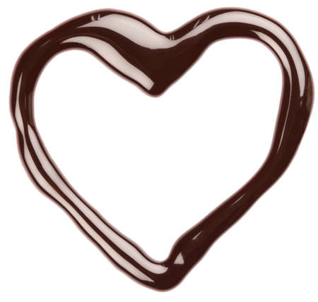 syrupy: Chocolate heart on white background